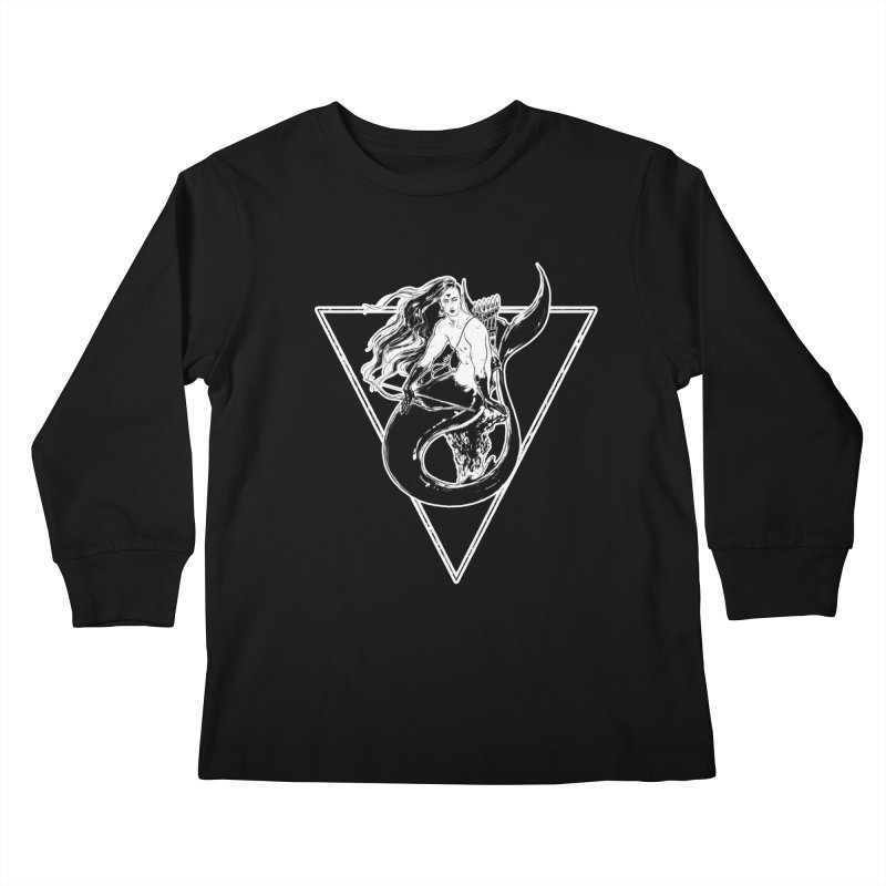 Black Mermaid Kids Longsleeve T-Shirt by Mar del Valle's Artist Shop