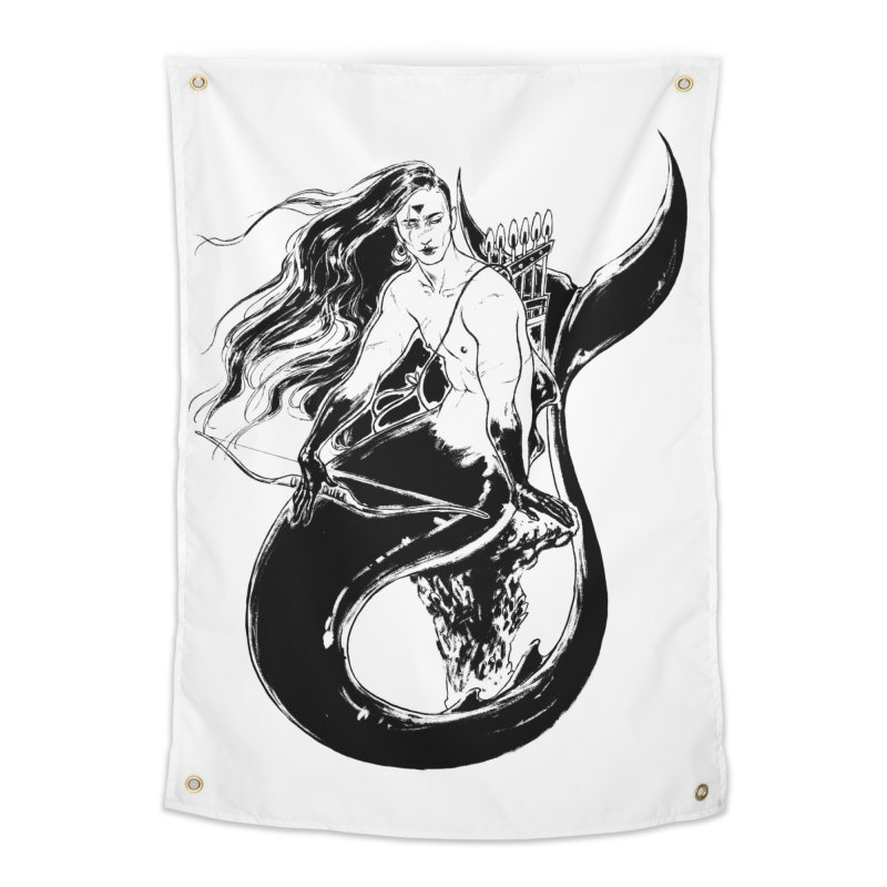 Black Mermaid Home Tapestry by Mar del Valle's Artist Shop