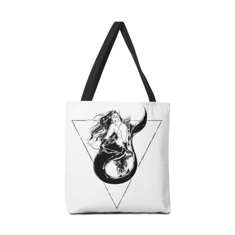 Black Mermaid Accessories Tote Bag Bag by Mar del Valle's Artist Shop