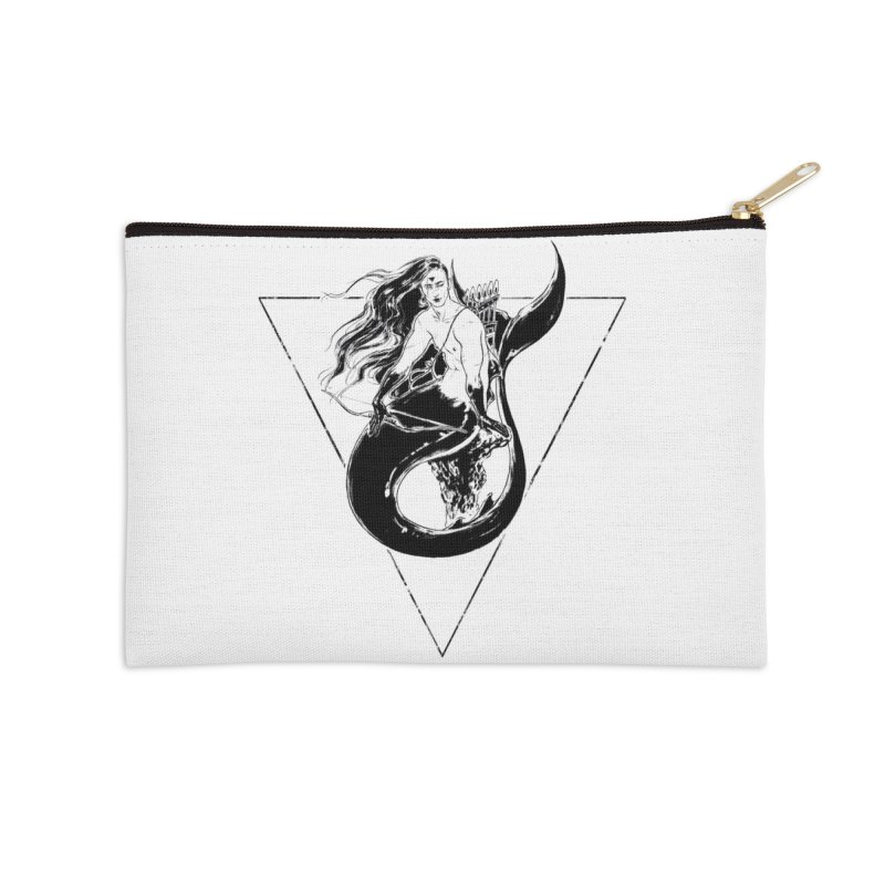 Black Mermaid Accessories Zip Pouch by Mar del Valle's Artist Shop