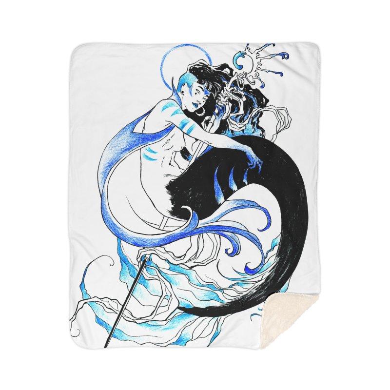 Blue Mermaid Home Sherpa Blanket Blanket by Mar del Valle's Artist Shop
