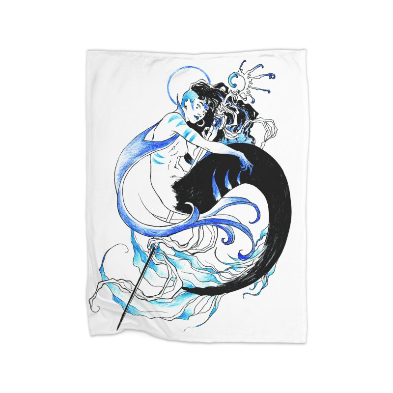 Blue Mermaid Home Fleece Blanket Blanket by Mar del Valle's Artist Shop