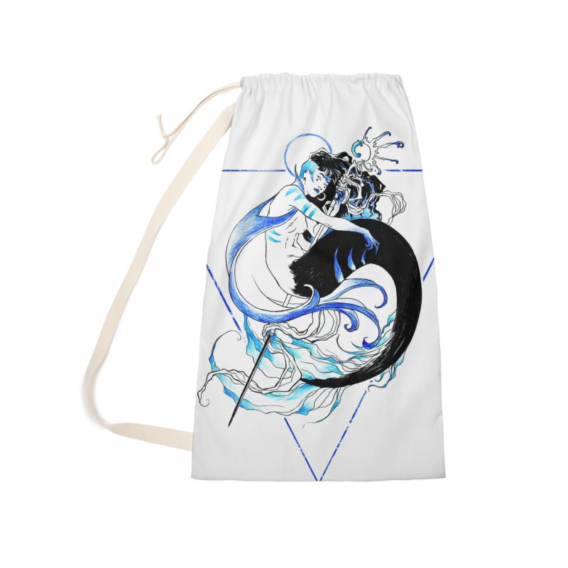 Blue Mermaid Accessories Laundry Bag Bag by Mar del Valle's Artist Shop