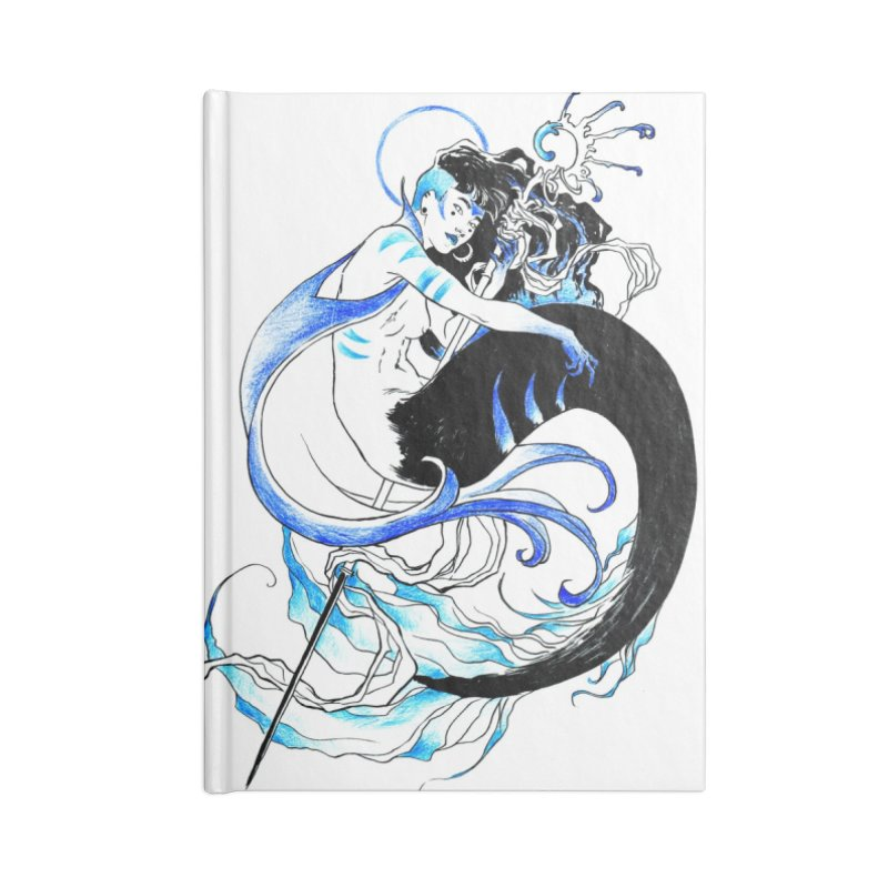 Blue Mermaid Accessories Lined Journal Notebook by Mar del Valle's Artist Shop