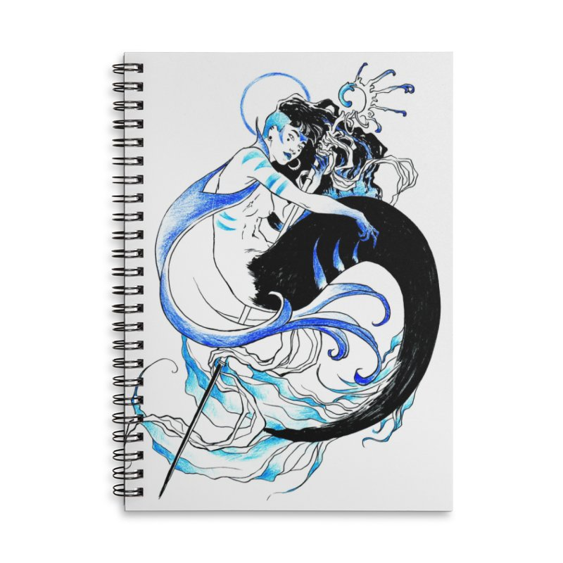 Blue Mermaid Accessories Lined Spiral Notebook by Mar del Valle's Artist Shop