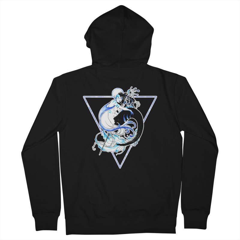 Blue Mermaid Women's French Terry Zip-Up Hoody by Mar del Valle's Artist Shop