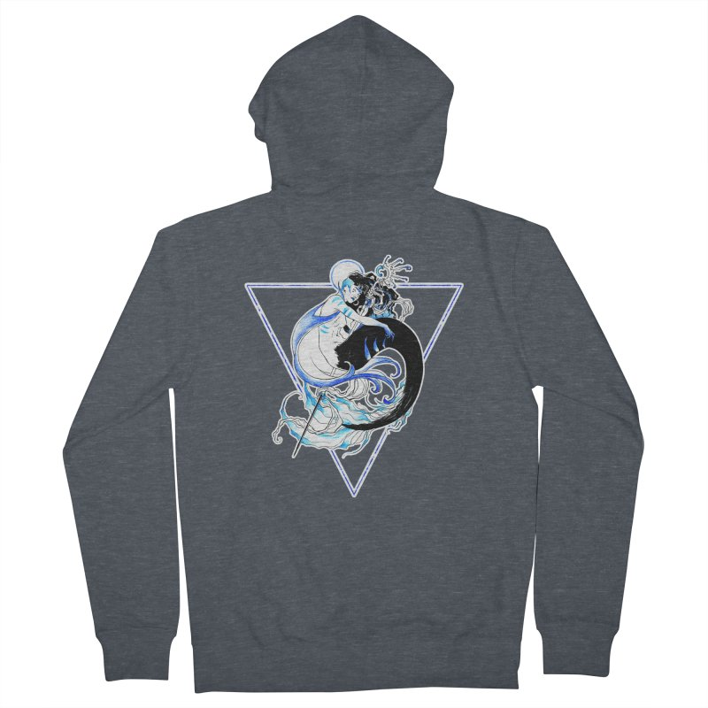 Blue Mermaid Men's French Terry Zip-Up Hoody by Mar del Valle's Artist Shop