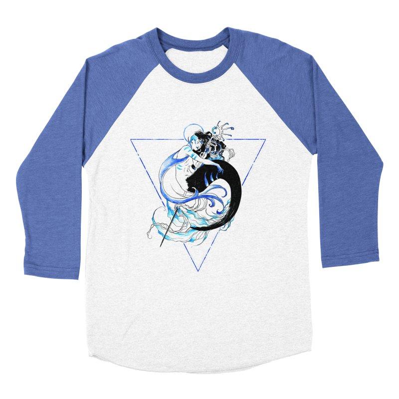 Blue Mermaid Women's Baseball Triblend Longsleeve T-Shirt by Mar del Valle's Artist Shop