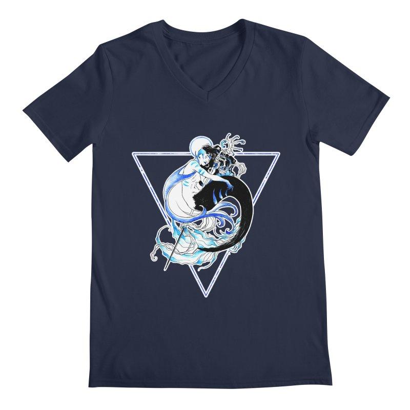 Blue Mermaid Men's V-Neck by Mar del Valle's Artist Shop