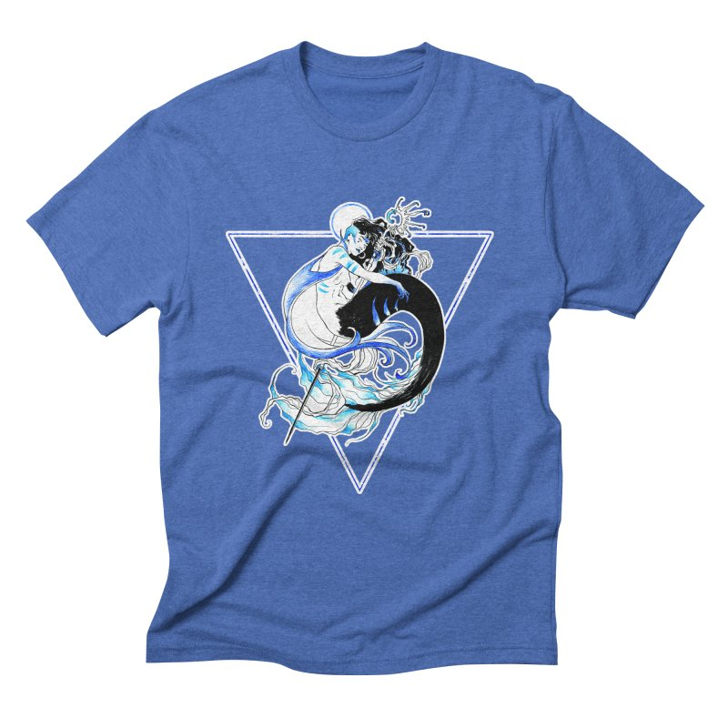 Blue Mermaid Men's Triblend T-shirt by Mar del Valle's Artist Shop