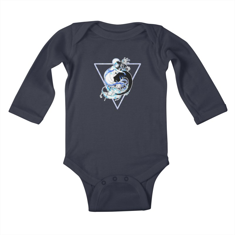 Blue Mermaid Kids Baby Longsleeve Bodysuit by Mar del Valle's Artist Shop