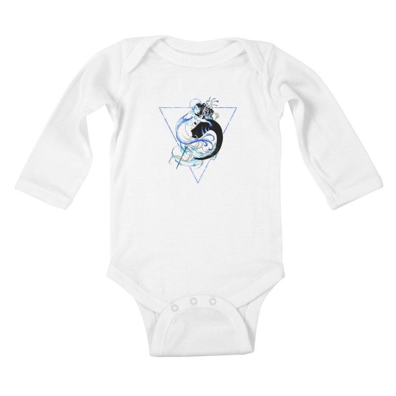 Blue Mermaid Kids Baby Longsleeve Bodysuit by Mar del Valle's Artist Shop