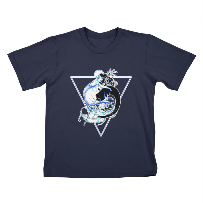 Blue Mermaid Kids T-Shirt by Mar del Valle's Artist Shop