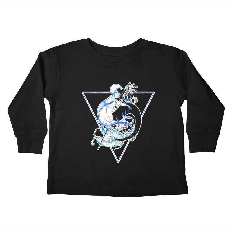 Blue Mermaid Kids Toddler Longsleeve T-Shirt by Mar del Valle's Artist Shop