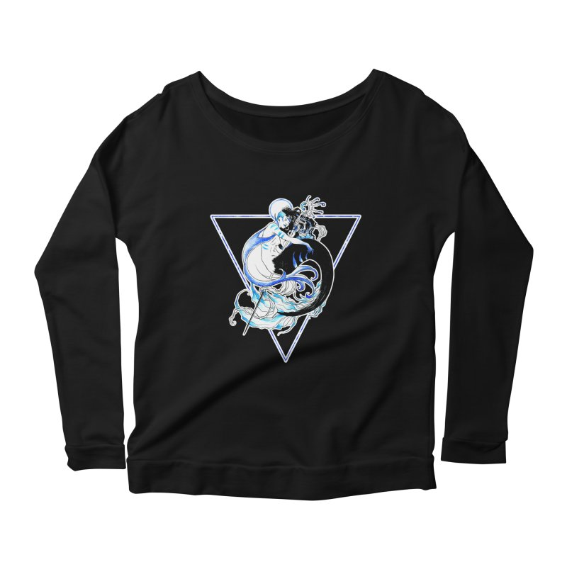 Blue Mermaid Women's Scoop Neck Longsleeve T-Shirt by Mar del Valle's Artist Shop