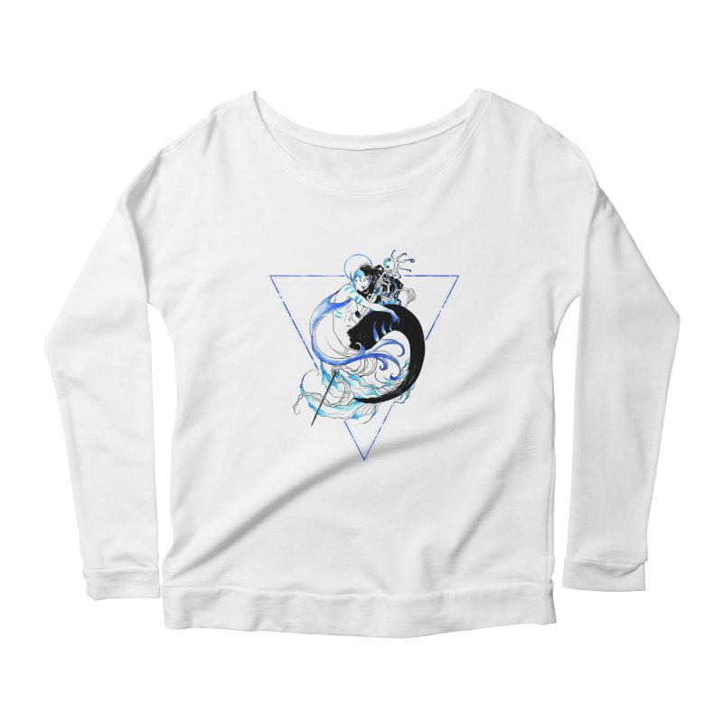 Blue Mermaid Women's Longsleeve Scoopneck  by Mar del Valle's Artist Shop