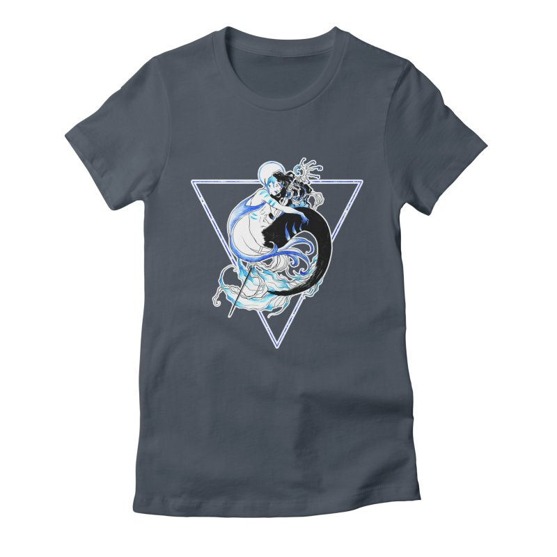 Blue Mermaid Women's Fitted T-Shirt by Mar del Valle's Artist Shop