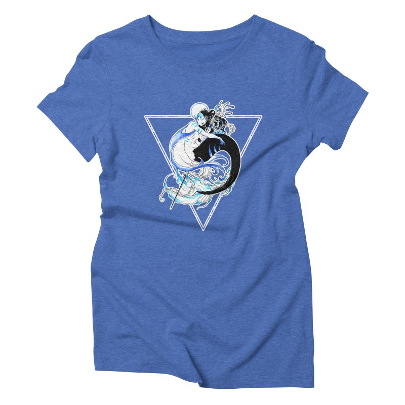 Blue Mermaid Women's Triblend T-Shirt by Mar del Valle's Artist Shop