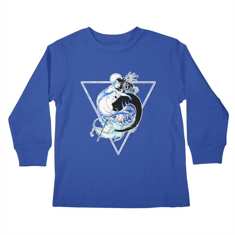 Blue Mermaid Kids Longsleeve T-Shirt by Mar del Valle's Artist Shop