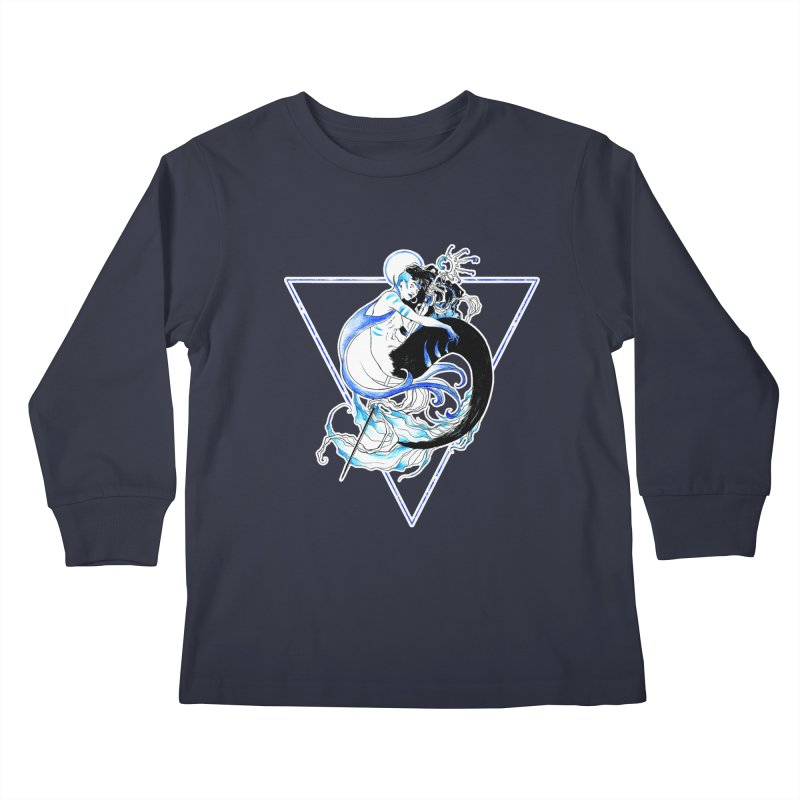 Blue Mermaid Kids Longsleeve T-Shirt by Mar del Valle's Artist Shop