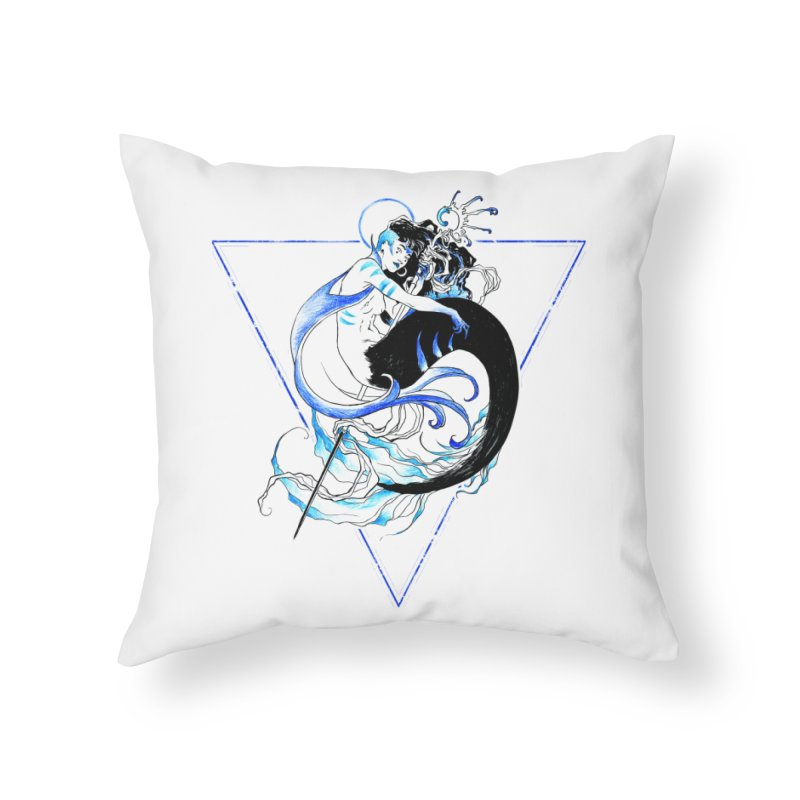 Blue Mermaid Home Throw Pillow by Mar del Valle's Artist Shop