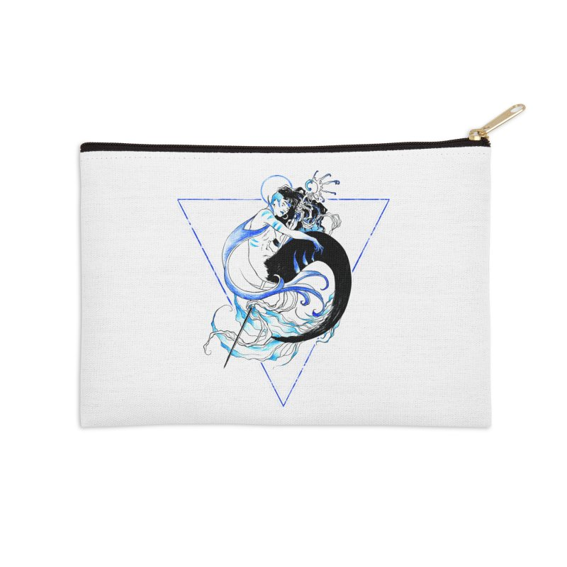 Blue Mermaid Accessories Zip Pouch by Mar del Valle's Artist Shop