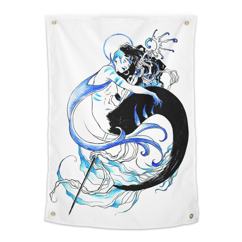 Blue Mermaid Home Tapestry by Mar del Valle's Artist Shop