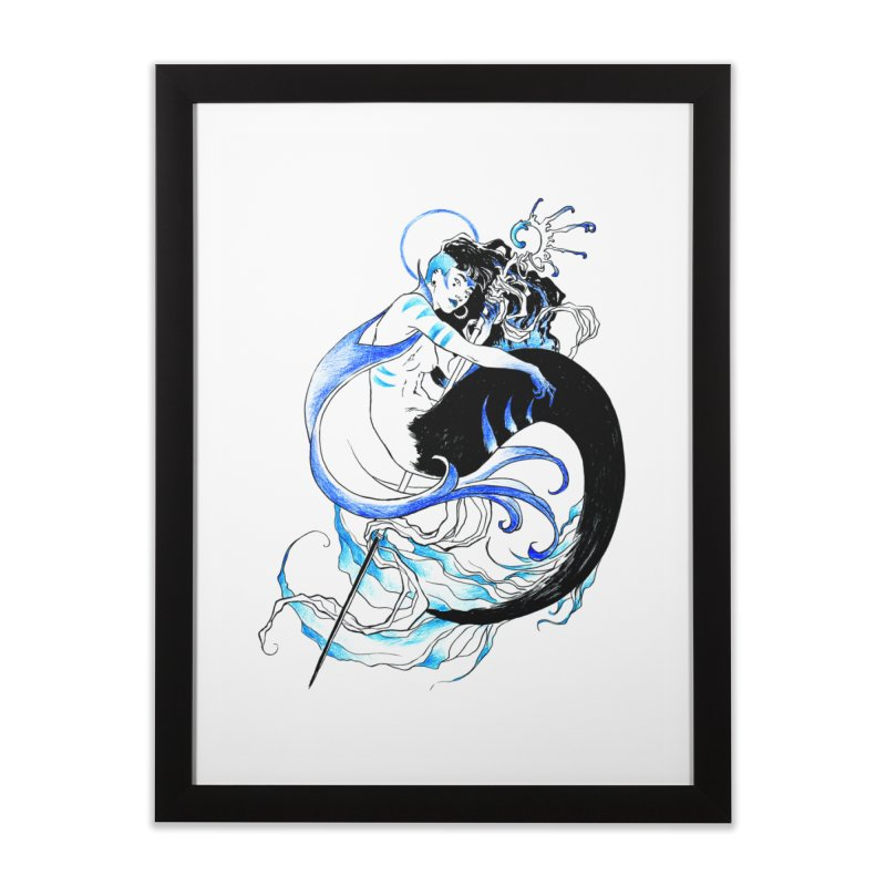 Blue Mermaid Home Framed Fine Art Print by Mar del Valle's Artist Shop