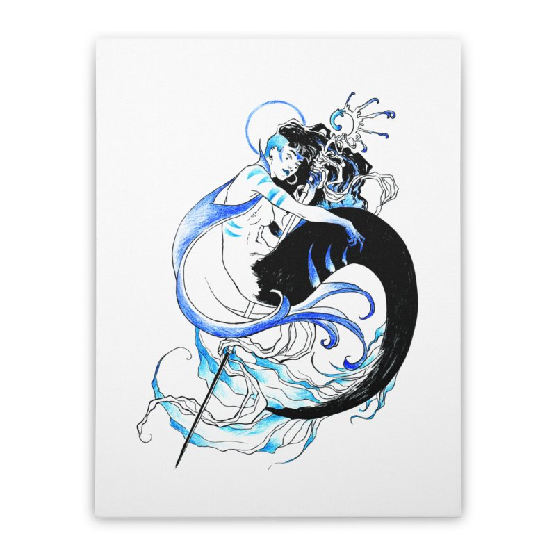 Blue Mermaid Home Stretched Canvas by Mar del Valle's Artist Shop