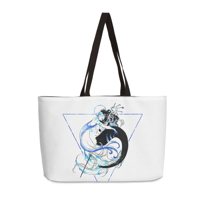 Blue Mermaid Accessories Weekender Bag Bag by Mar del Valle's Artist Shop
