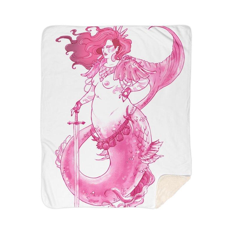 Pink Mermaid - Superboss Badass Siren Home Sherpa Blanket Blanket by Mar del Valle's Artist Shop