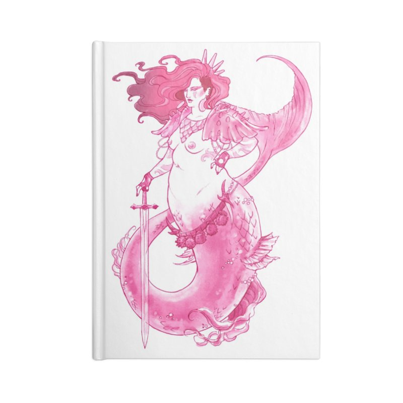 Pink Mermaid - Superboss Badass Siren Accessories Lined Journal Notebook by Mar del Valle's Artist Shop