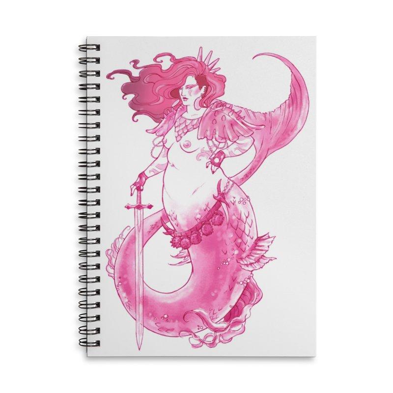 Pink Mermaid - Superboss Badass Siren Accessories Lined Spiral Notebook by Mar del Valle's Artist Shop
