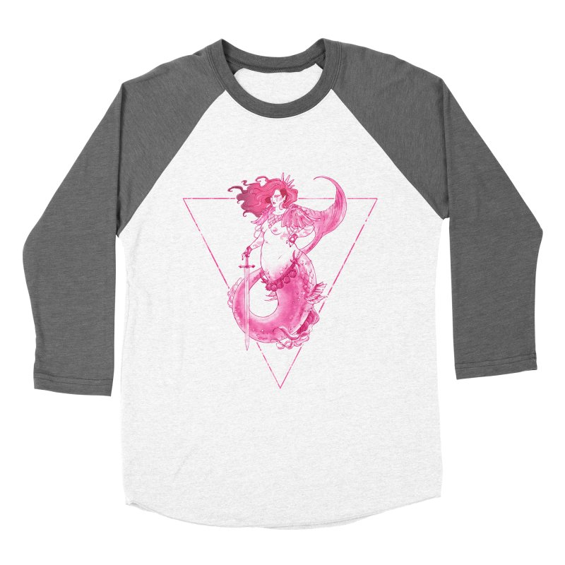 Pink Mermaid - Superboss Badass Siren Men's Baseball Triblend T-Shirt by Mar del Valle's Artist Shop