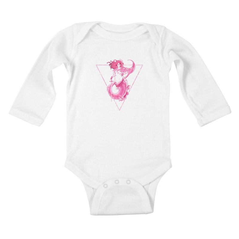 Pink Mermaid - Superboss Badass Siren Kids Baby Longsleeve Bodysuit by Mar del Valle's Artist Shop