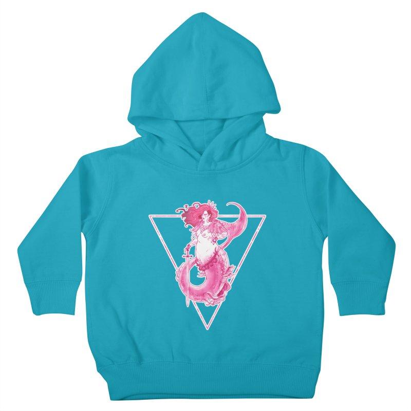 Pink Mermaid - Superboss Badass Siren Kids Toddler Pullover Hoody by Mar del Valle's Artist Shop
