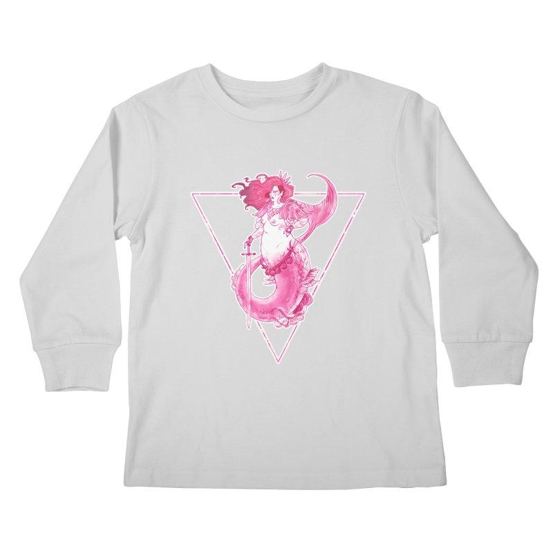 Pink Mermaid - Superboss Badass Siren Kids Longsleeve T-Shirt by Mar del Valle's Artist Shop