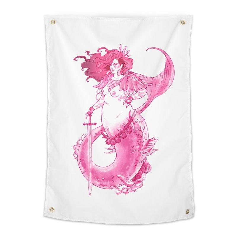 Pink Mermaid - Superboss Badass Siren Home Tapestry by Mar del Valle's Artist Shop