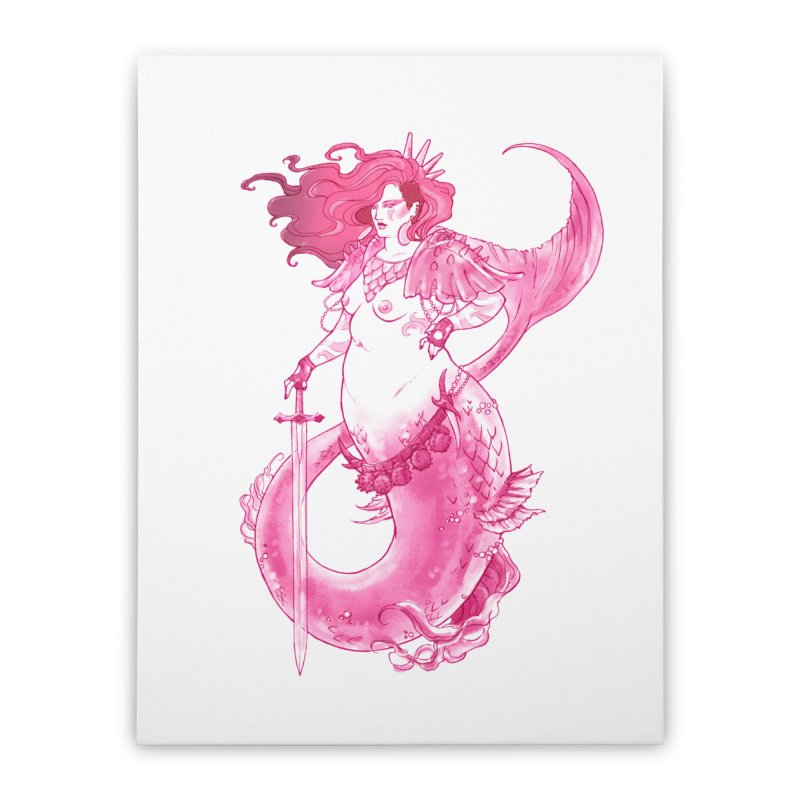 Pink Mermaid - Superboss Badass Siren Home Stretched Canvas by Mar del Valle's Artist Shop