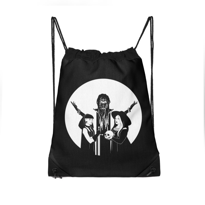 Never Hide: Three Witches Accessories Drawstring Bag Bag by Mar del Valle's Artist Shop
