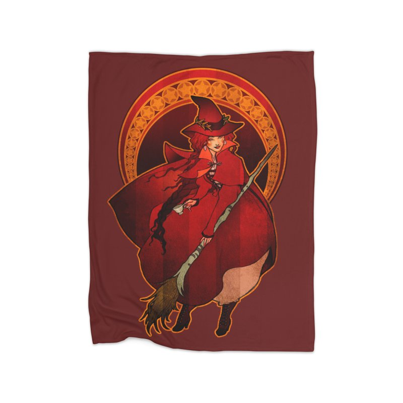 The Red Witch Home Fleece Blanket Blanket by Mar del Valle's Artist Shop