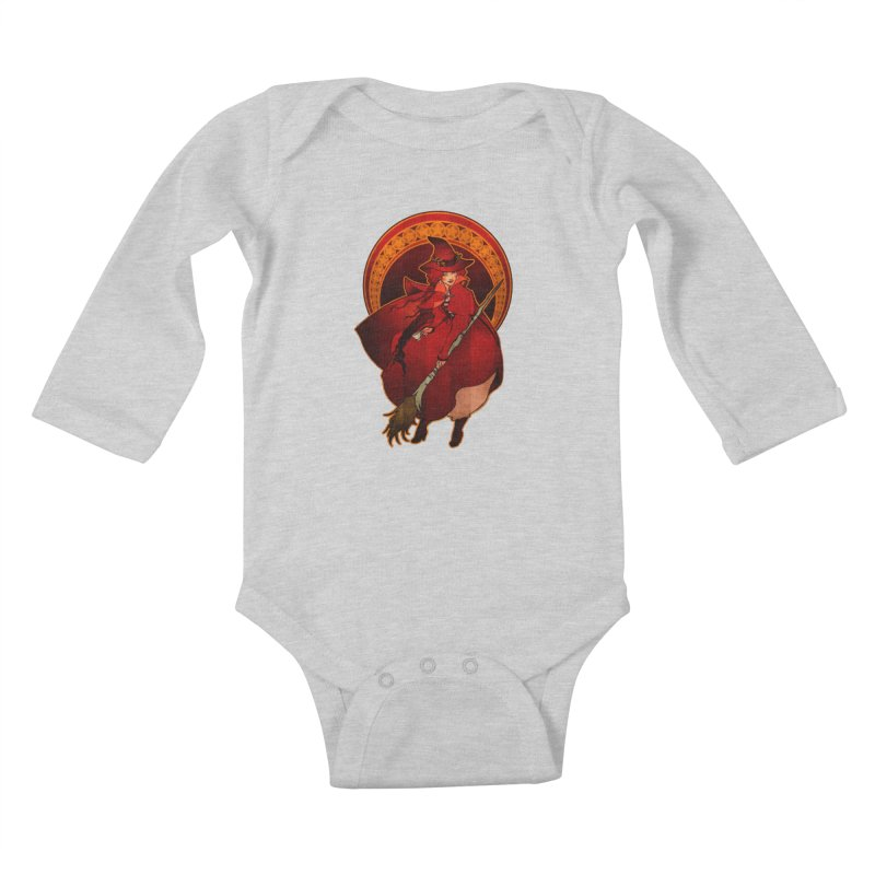 The Red Witch Kids Baby Longsleeve Bodysuit by Mar del Valle's Artist Shop