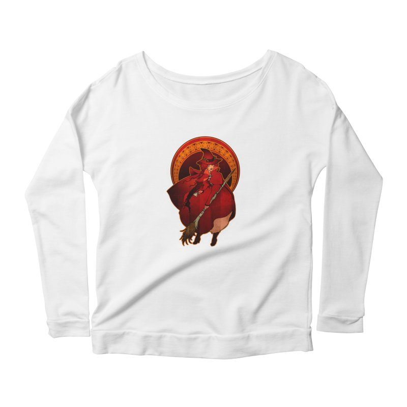 The Red Witch Women's Longsleeve Scoopneck  by Mar del Valle's Artist Shop