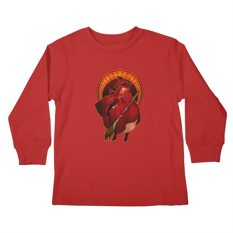 The Red Witch Kids Longsleeve T-Shirt by Mar del Valle's Artist Shop