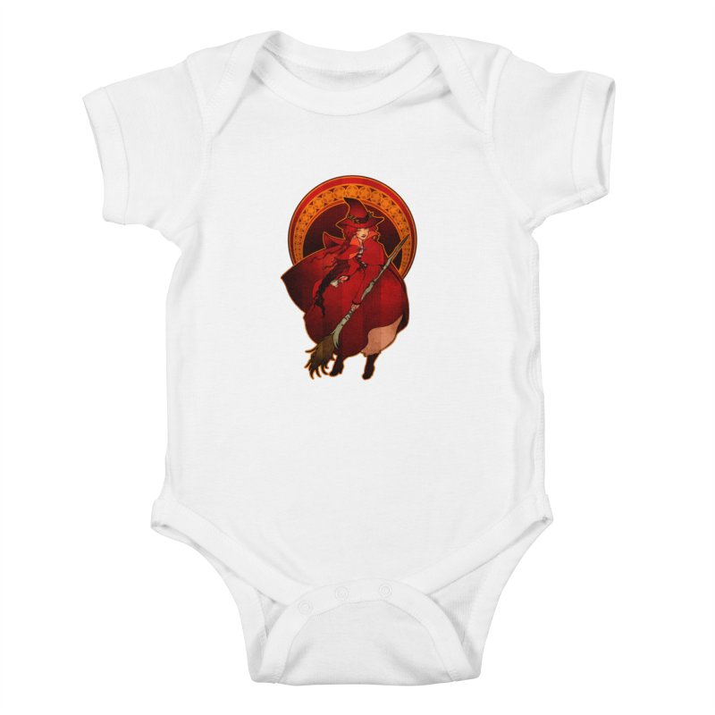 The Red Witch Kids Baby Bodysuit by Mar del Valle's Artist Shop