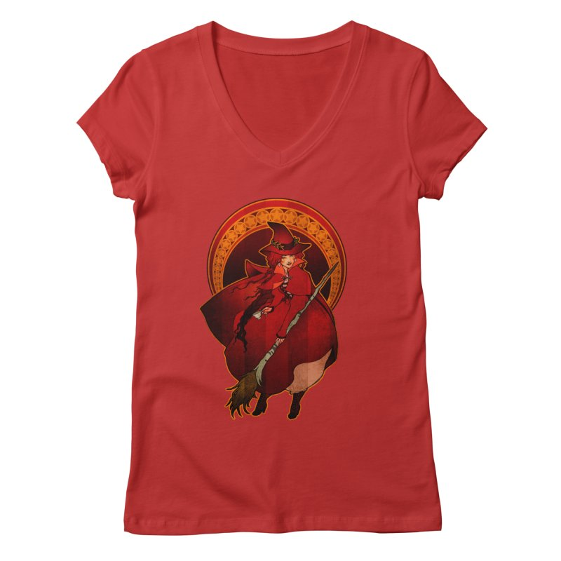 The Red Witch Women's Regular V-Neck by Mar del Valle's Artist Shop