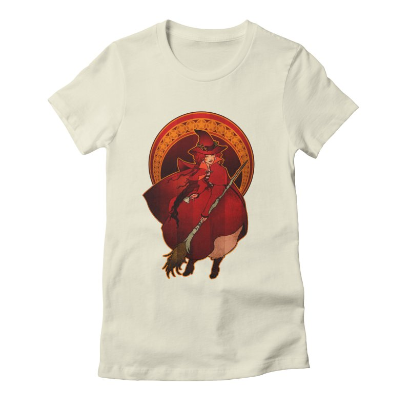 The Red Witch Women's Fitted T-Shirt by Mar del Valle's Artist Shop
