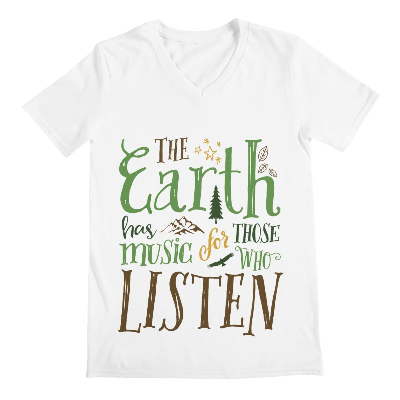 The Earth's Music Men's V-Neck by Margie Mark's Artist Shop