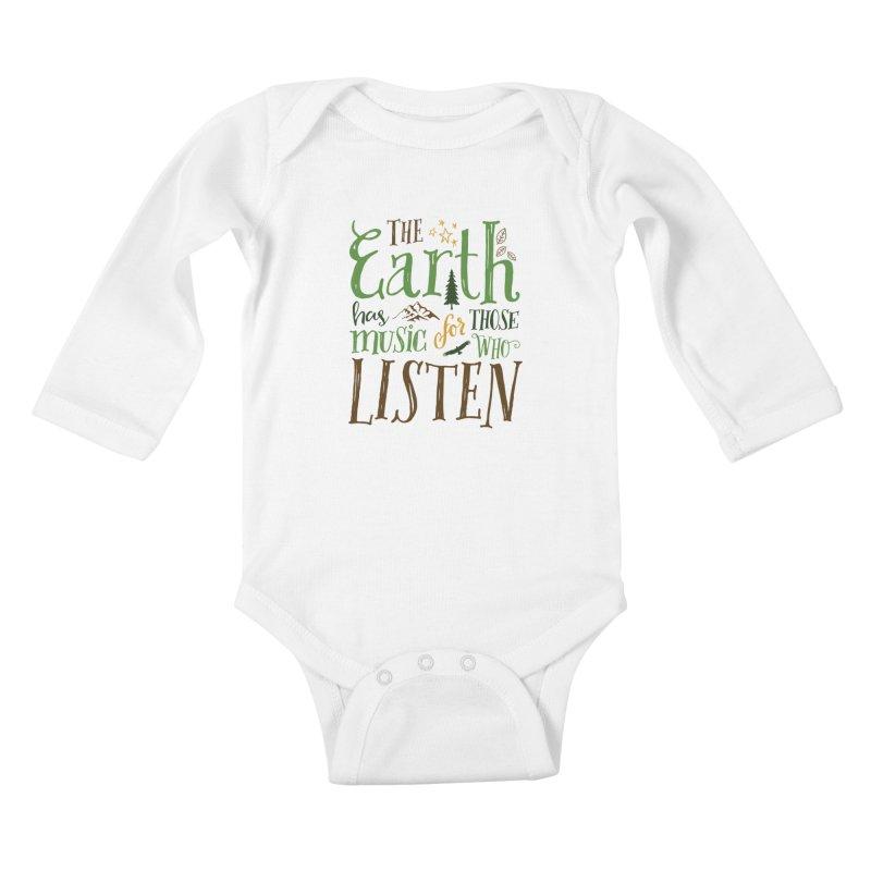 The Earth's Music Kids Baby Longsleeve Bodysuit by Margie Mark's Artist Shop