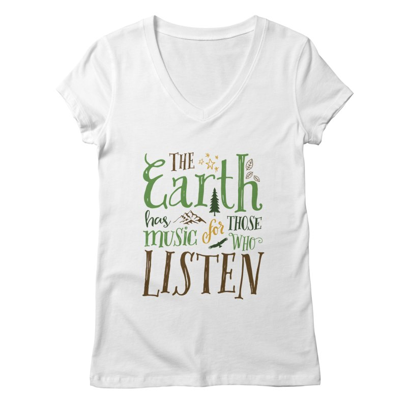The Earth's Music Women's V-Neck by Margie Mark's Artist Shop